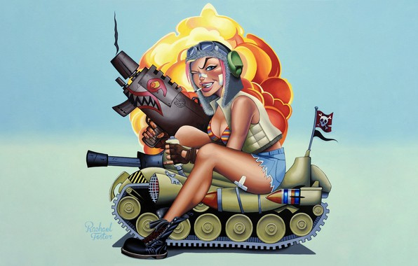 Picture Minimalism, Figure, Weapons, Comic, Art, Tank, Concept art, Illustration, Concept Art, Character, Tank Girl, The ...