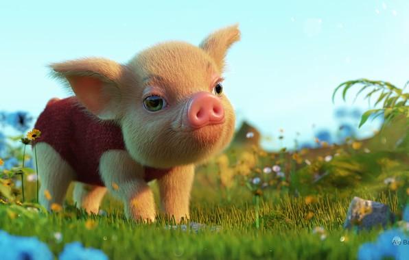 Picture summer, baby, art, walk, children's, pig, pig, Ale Barbosa, Finding Little Pig