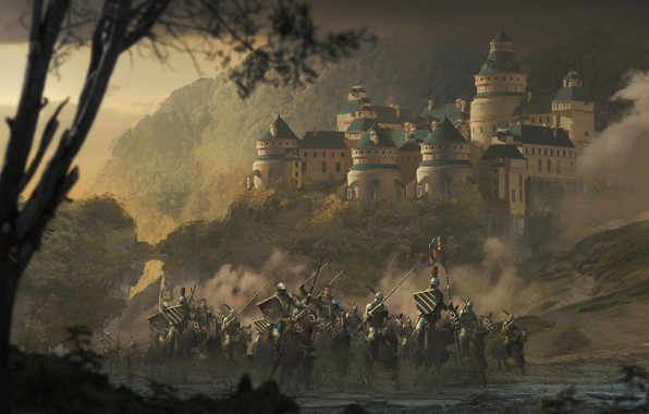Photo wallpaper forest, weapons, armor, Castle, flag, warrior, rider, knight