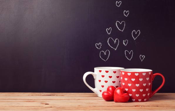Picture table, background, wall, Board, two, heart, Cup, hearts, white, red, Valentine's day, bokeh
