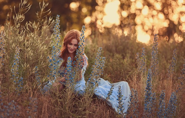 Picture grass, girl, flowers, smile, mood, meadow, freckles, red, redhead