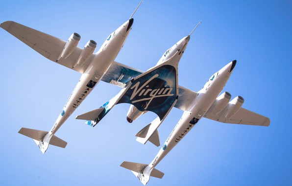 Picture Spaceship, Plane, VSS Enterprise, White Knight Two, Virgin Galactic