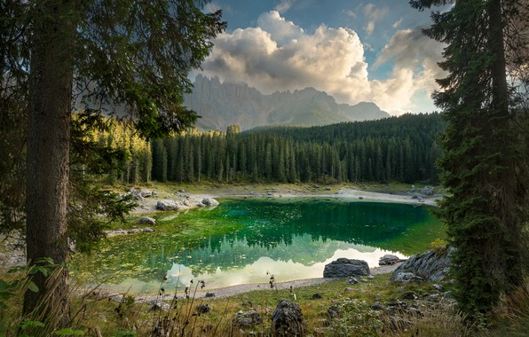 Picture trees, landscape, mountains, nature, lake, Italy, forest, The Dolomites, Karersee, Carezza