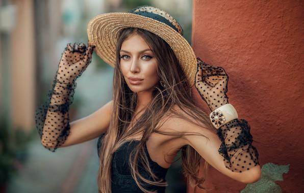 Picture look, girl, hat, makeup, gloves, bracelet, brown hair