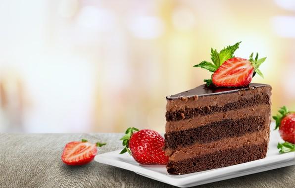 Picture food, strawberry, cake, cream, dessert, chocolate