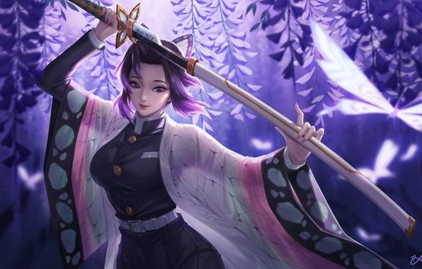 Picture girl, sword, anime, purple eyes, katana, samurai, artwork, warrior, butterflies, kimono, purple hair, anime girl, …