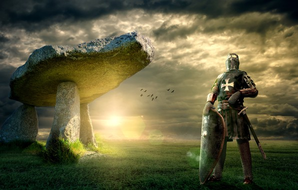 Picture field, the sky, grass, the sun, clouds, light, landscape, birds, clouds, pose, stones, rendering, weapons, ...