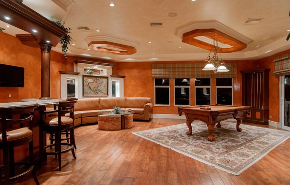 Picture table, room, sofa, Windows, interior, carpet, bar, Billiards, chandelier, table, living room, lamps