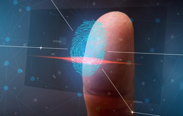 Picture line, background, blue, leather, finger, electronics, imprint, technocracy, hi-tech, digital, high technology, identification, marks of …