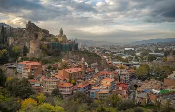Picture building, home, panorama, the ruins, Georgia, Tbilisi, The Church Of St. Nicholas, Old Tbilisi, Narikala ...