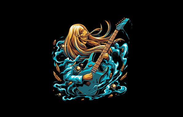 Picture Girl, Fantasy, Art, Music, Guitar, Vector, Background, Illustration, Minimalism, Song, Angga Tantama, ROCK GIRL