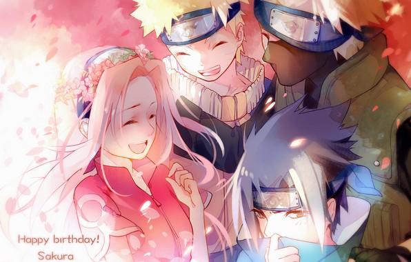 Picture team, Naruto, friends, wreath, smile, ninja, pink hair, Sasuke Uchiha, Sakura Haruno, Naruto Uzumaki, Hatake …