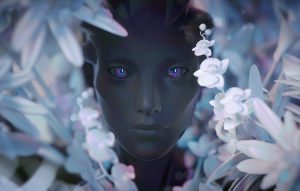 Picture look, girl, flowers, face, rendering, fiction