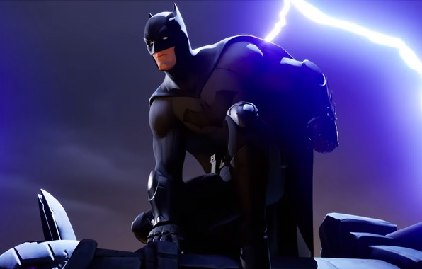 Picture night, batman, lightning, Batman, lightning, night, Epic Games, Fortnite