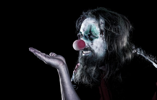 Picture smile, hand, clown, hairstyle, male, beard, black background, gesture, palm, makeup, shaggy, dark, red nose, …