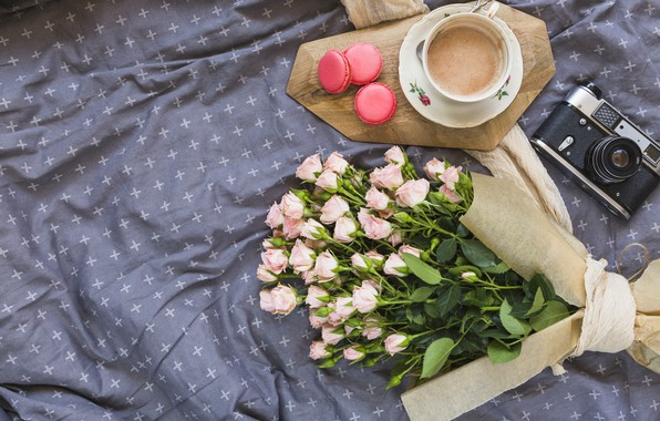 Picture flowers, roses, bouquet, pink, pink, flowers, beautiful, romantic, coffee cup, roses, macaron, a Cup of ...