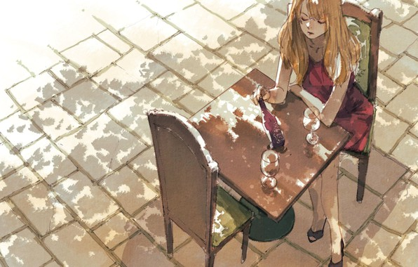 Picture girl, cafe, table, macadam
