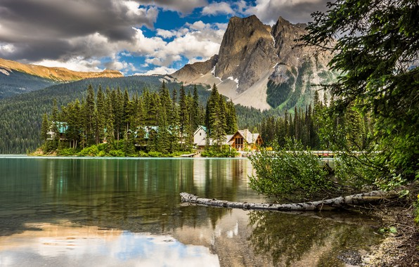 Picture forest, Canada, sky, trees, nature, mountains, clouds, lake, landscapes, houses, shore, reflection, lodge, 4k uhd …