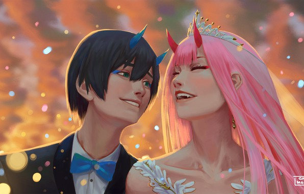 Fantasy Wallpaper 1920x1080 >> Wallpaper wedding, Hiro, Darling in the FranXX, Zero Two, by hector026 images for desktop ...