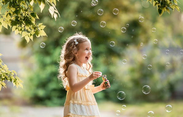 Picture summer, leaves, joy, branches, nature, the game, laughter, bubbles, girl, child, A Diakov George
