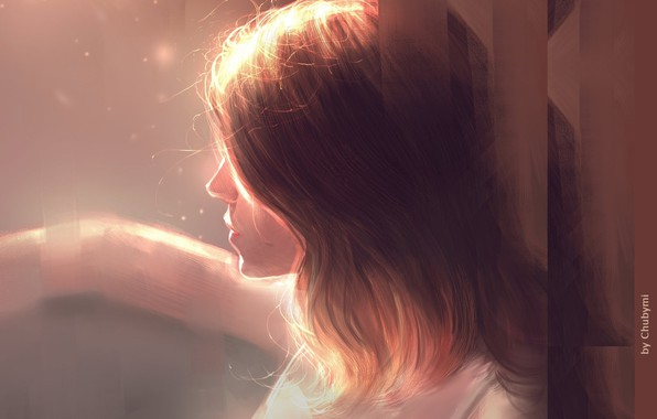 Picture hand, brown hair, in profile, portrait of a girl, light and shadow, by Chuby Mi