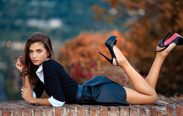 Picture look, skirt, Girl, shoes, lies, legs, Giorgia, Marco Squassina
