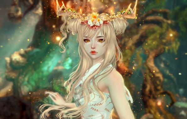 Picture fantasy, lights, beautiful, white dress, sorceress, sad eyes, charming, fantasy art, девушка олень
