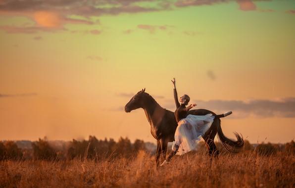 Picture girl, pose, horse, jump, horse, dance, ballerina