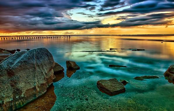 Picture water, sunset, bridge, stones, photo, pierce