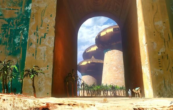 Picture fantasy, desert, trees, walls, artist, digital art, artwork, fantasy art, person, palms, towers, futuristic, camel, …
