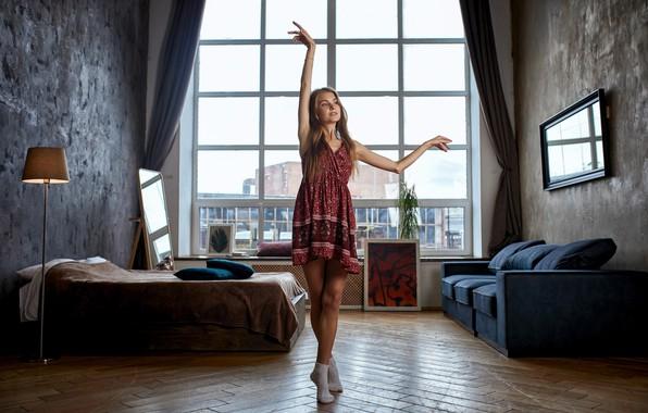 Picture girl, dance, dress, legs, the beauty, socks, Alexander Urmashev