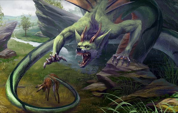 Picture horror, Fantasy, dragon, situation, trophy hunt