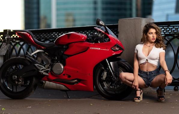 Picture girl, pose, shorts, motorcycle, Ducati, Anna Pharao, Ilya Pistols