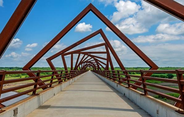 Picture bridge, trail, USA, Iowa, High Trek Trail