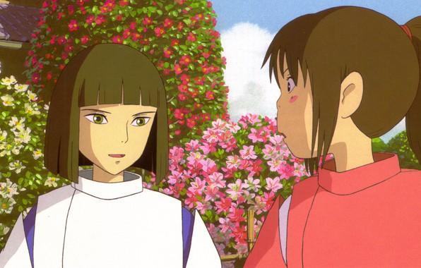 Picture Japanese clothing, art, Hayao Miyazaki, flower garden, Haku, Spirited Away, Spirited away, in the garden, …