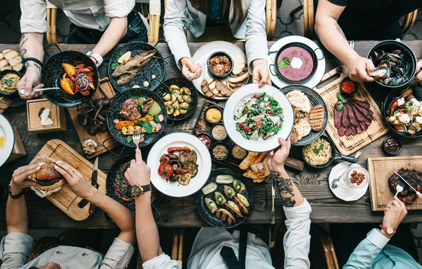 Picture friends, table, banquet, dishes, top view, variety of food