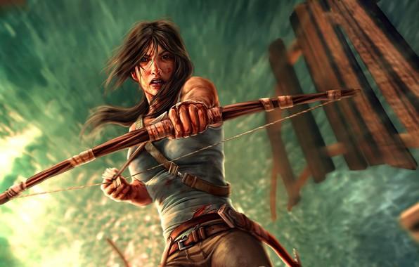 Picture Bow, Tomb Raider, Lara Croft, Art, Lara Croft, Arrow, Video Game, Tomb Raider, Ice pick