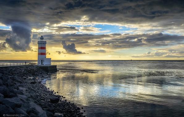 Picture sea, clouds, coast, lighthouse, Iceland