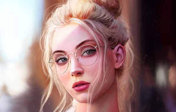 Picture Girl, art, blue eyes, bokeh, lips, face, blonde, digital art, glasses, artwork, mouth, close up, …