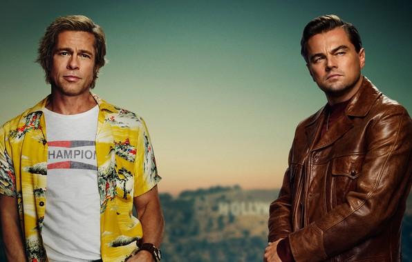 Picture actors, Brad Pitt, Brad Pitt, poster, men, Leonardo DiCaprio, Leonardo DiCaprio, Once Upon a Time ...