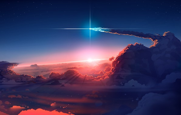 Picture Sky, sunset, art, clouds, stars, sun, digital art, artwork, comet
