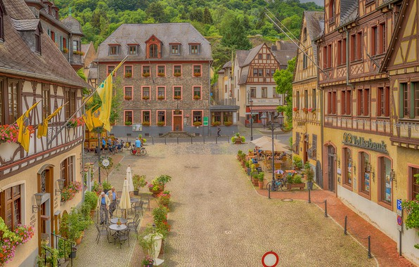 Picture trees, flowers, people, street, chairs, home, Germany, town, the bushes, bikes, tables, Oberwesel