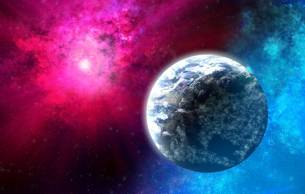Picture space, rays, planet, glow, stars, object