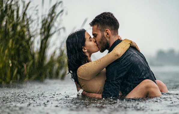 Picture grass, water, girl, rain, kiss, pair, guy, lovers