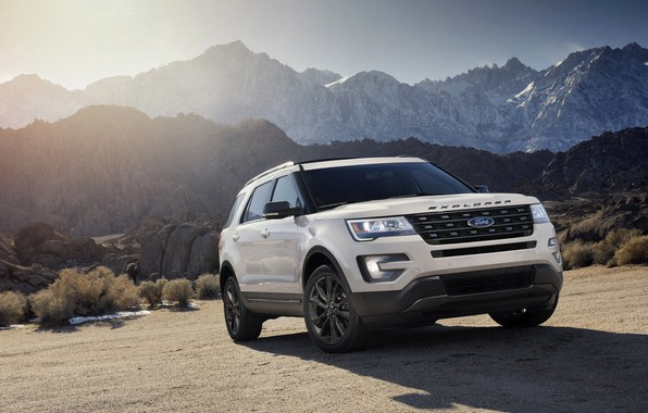 Picture road, white, mountains, Ford, Sport, SUV, Explorer, 2017, XLT