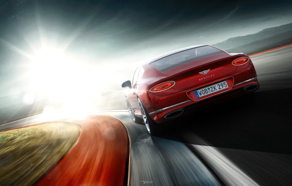Picture The sun, Red, Auto, Bentley, Continental, Machine, Blik, Bentley Continental, Bentley Continental GT, by Mikhail …