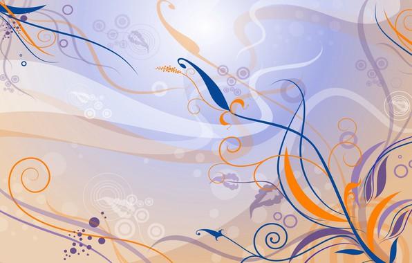 Picture flowers, orange, blue, lilac, pattern, vector, art, Background, Texture