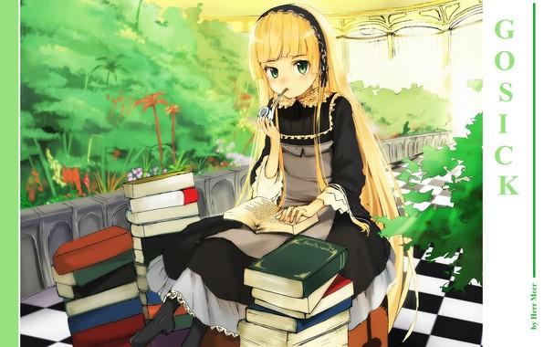 Picture books, plants, black dress, apron, greenhouse, gosick, chess floor, Kapor, victorique de broix, Smoking pipe, …