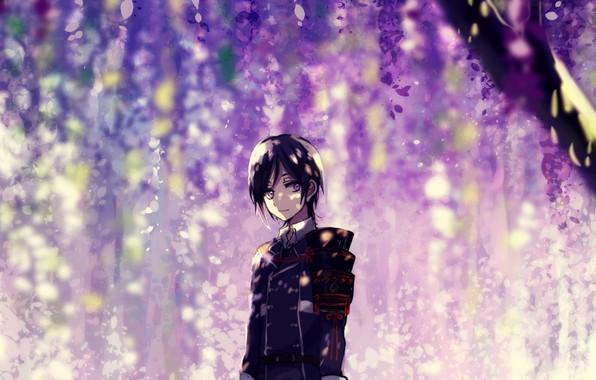 Picture flowering, military uniform, Wisteria, Wisteria, Touken Ranbu, Namazuo Toushirou, under the tree, Dance Of Swords, …
