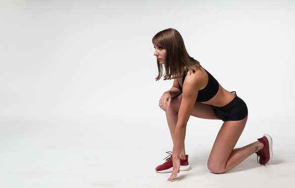Picture minimalism, white background, sporty girl